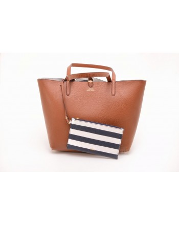 POLO RALPH LAUREN - Borsa Tote in Pelle - Lauren Tan/Navy
