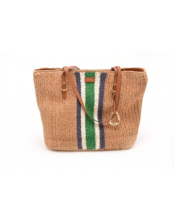 POLO RALPH LAUREN - Fabric and Straw Tote Bag TOLTON  - Natural/Stripes