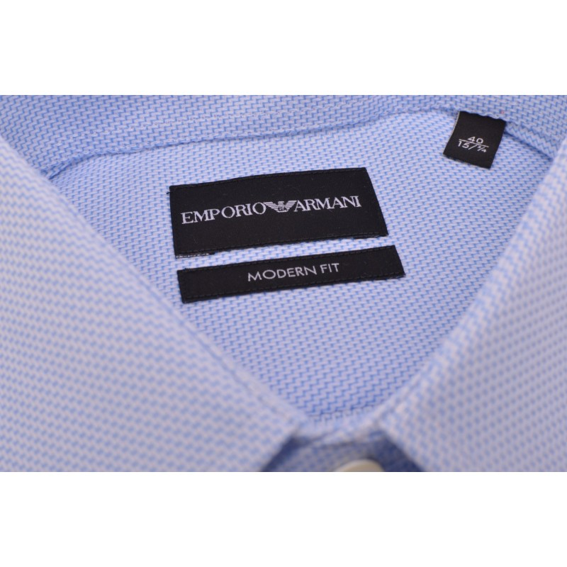 EMPORIO ARMANI - Camicia Modern Fit - Celeste