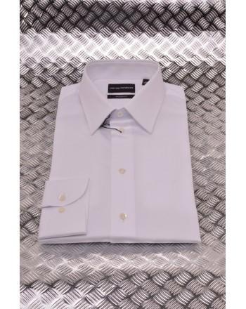 EMPORIO ARMANI - Camicia Modern Fit in Tessuto Operato -  Bianco