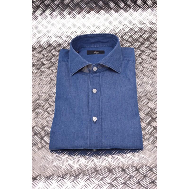 FAY - French Collar Denim Shirt - Denim