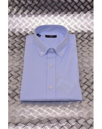 FAY - Cotton Micropatterned Shirt - Sky Blue