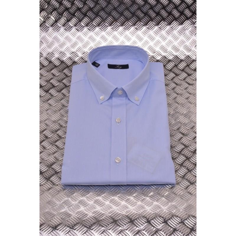 FAY - Camicia in Cotone  Microfantasia - Cielo