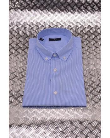 FAY - Camicia in Cotone con Microriga - Azzurro/Bianco