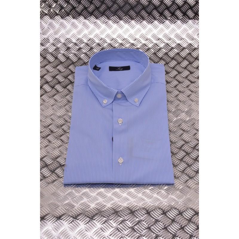 FAY - Microstriped Cotton Shirt - Light Blue/White