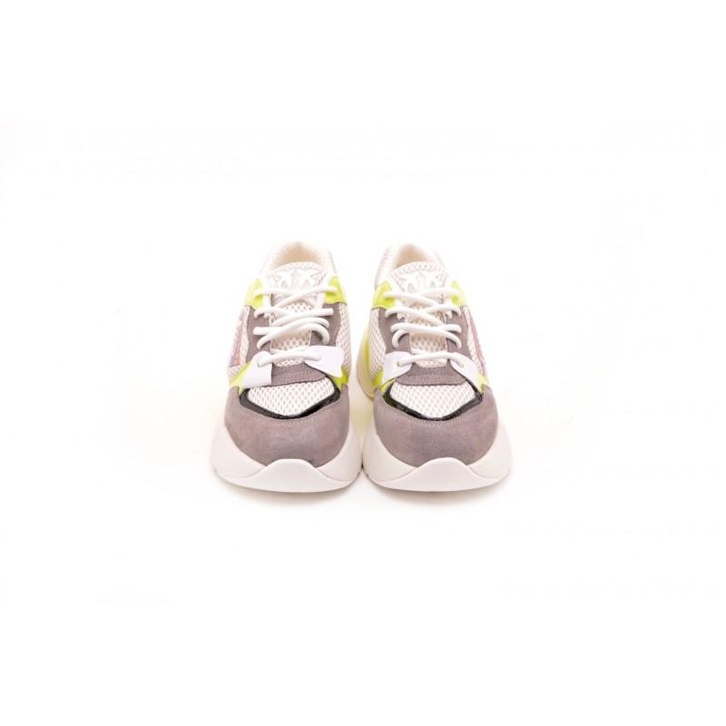 PINKO - Sneakers in Tessuto Tecnico con Rete SMERALDO - Bianco/Giallo/Grigio