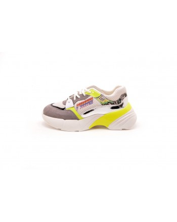 PINKO - Tech Fabric Sneakers SMERALDO - White/Yellow/Grey
