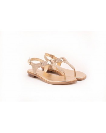 MICHAEL BY MICHAEL KORS - Thongs Sandal with Metallic Logo - White/Gold