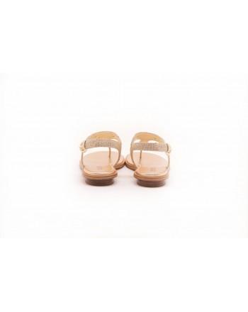 MICHAEL BY MICHAEL KORS - Thongs Sandal with Metallic Logo - White/Gold