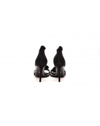 MICHAEL BY MICHAEL KORS -  Suede Sandal with Rhinestone Flower  VALENTINA - Black