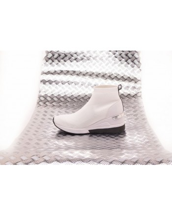 MICHAEL BY MICHAEL KORS - Stretch Fabric High Top Sneakers  SKYLER - White/Black