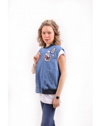 LOVE MOSCHINO - Gilet denim con patch - Denim