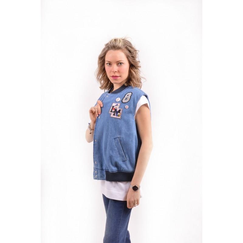 LOVE MOSCHINO - Denim vest with patch - Denim