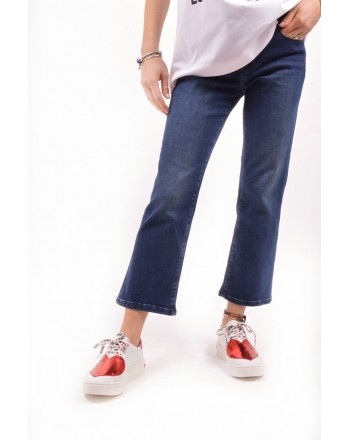 LOVE MOSCHINO - Pantalone jeans con patch - Denim