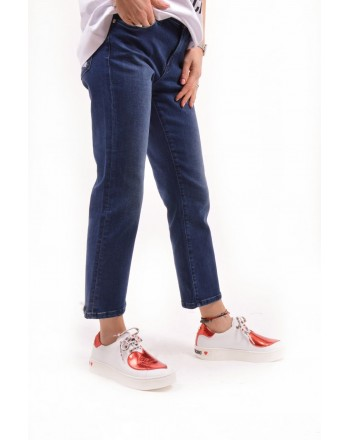 LOVE MOSCHINO -  Jeans trousers with patch - Denim