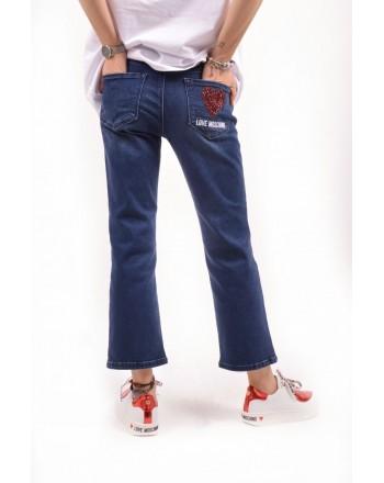 LOVE MOSCHINO - Pantalone jeans con patch - Denim
