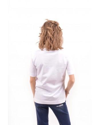 LOVE MOSCHINO -  T-Shirt in cotone con stampa Fiori - Bianco