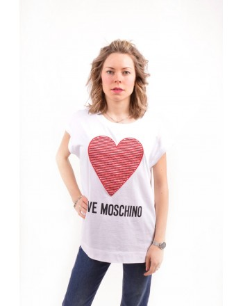LOVE MOSCHINO - Cotton T-Shirt with Strass Heart - White