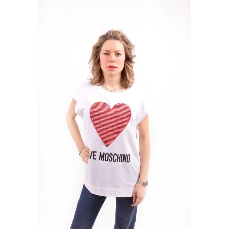LOVE MOSCHINO - T-Shirt in cotone con CUORE Strass - Bianco