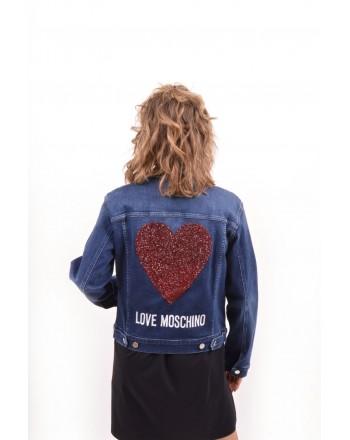 LOVE MOSCHINO -  Denim jacket with rhinestone patch - Denim