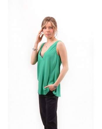PINKO -  Crepe de Chine Top  ROSARIA - Green