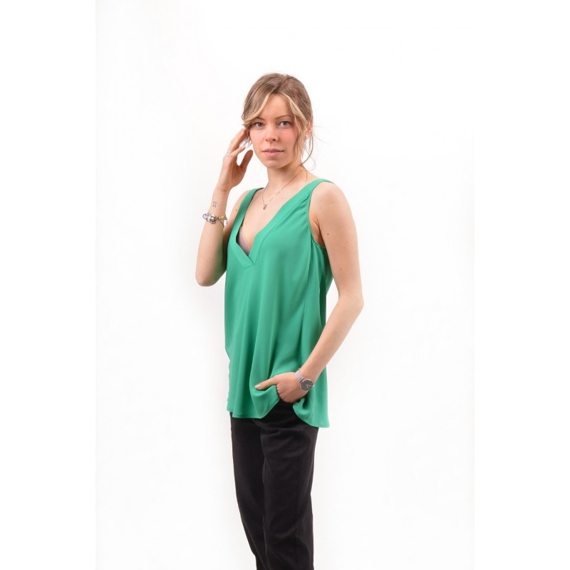 PINKO - Top in Crepe de Chine ROSARIA - Verde