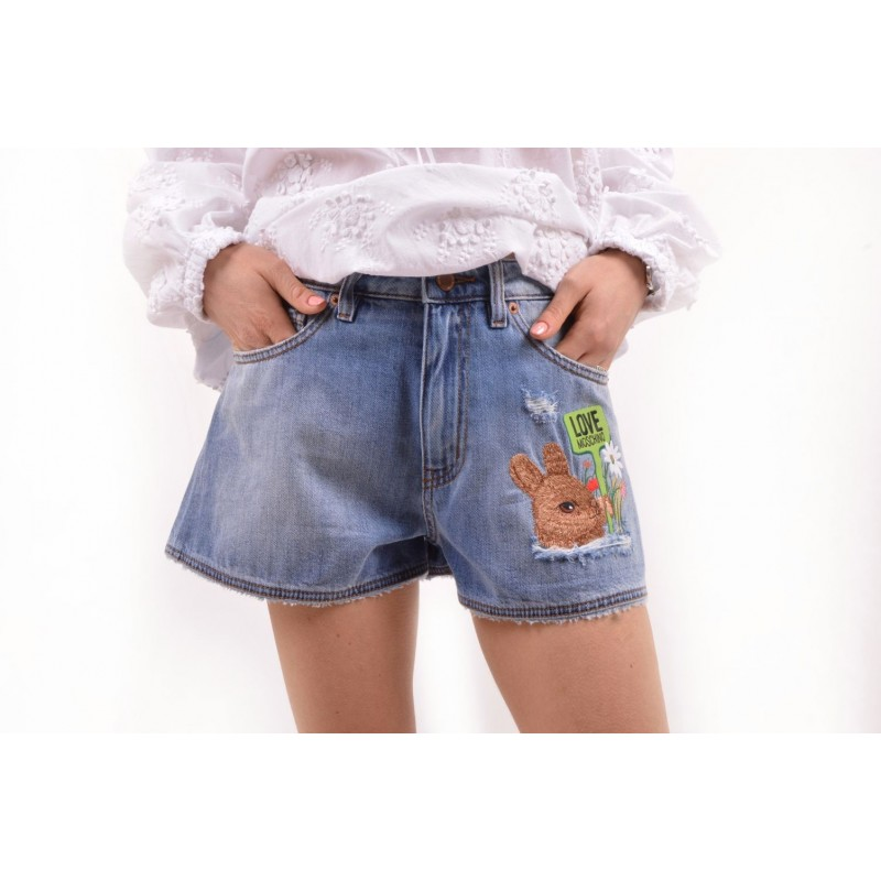 LOVE MOSCHINO - Shorts in Jeans con Patch - Denim