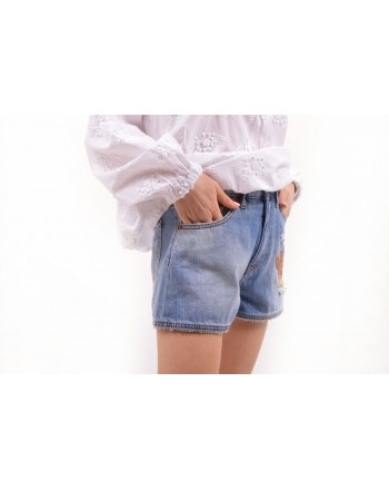LOVE MOSCHINO -  Jeans Shorts with Patch - Denim