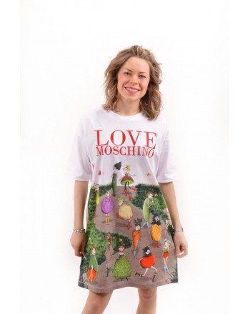 LOVE MOSCHINO -  Jersey Dress with Garden Doll - White