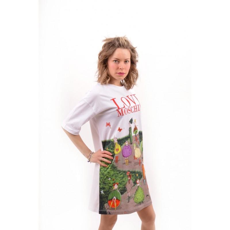 LOVE MOSCHINO - Abito in Jersey con Garden Doll - Bianco