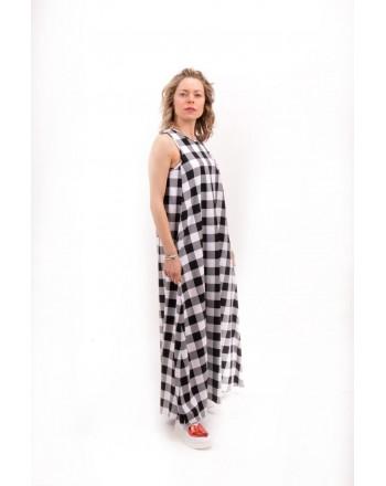 LOVE MOSCHINO -  VICHY dress in Twill with Cherry Stik - White/Black