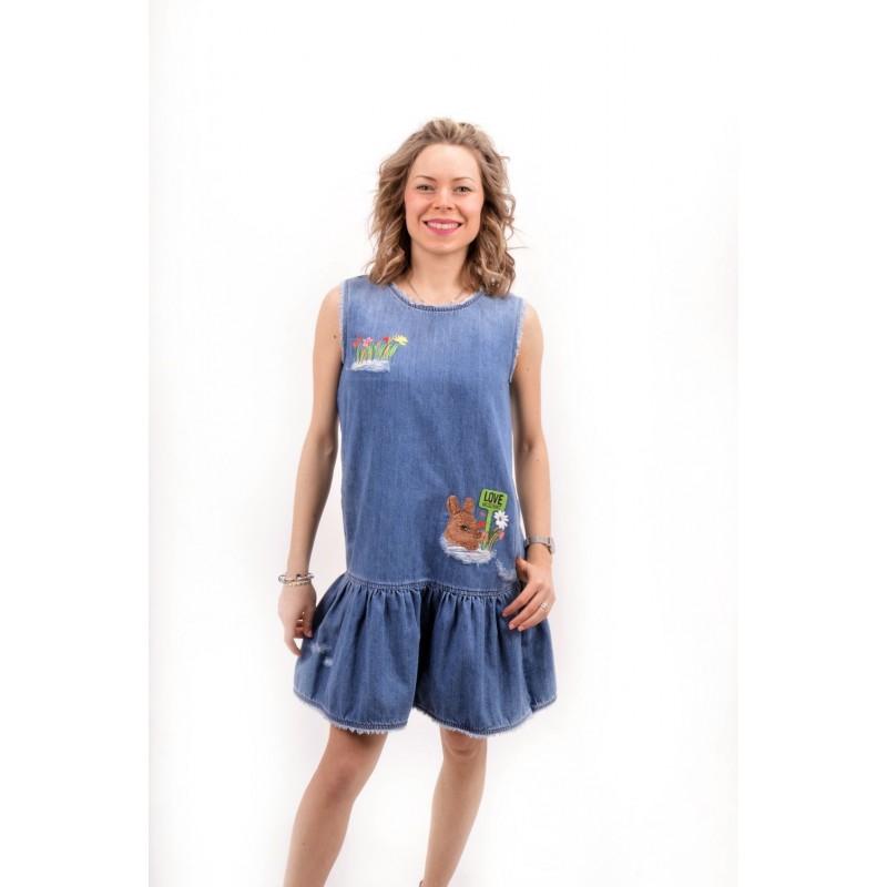 LOVE MOSCHINO -  Denim Dress with Cute Benny - Denim