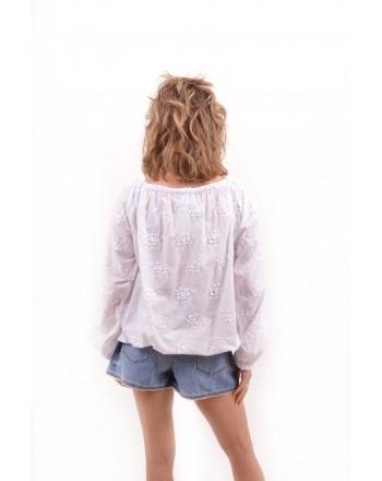 LOVE MOSCHINO - Blusa in cotone con ricamo - Bianco