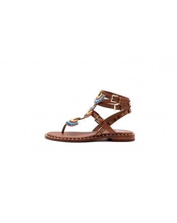 ASH -  Leather sandal with studs and beads - Brown