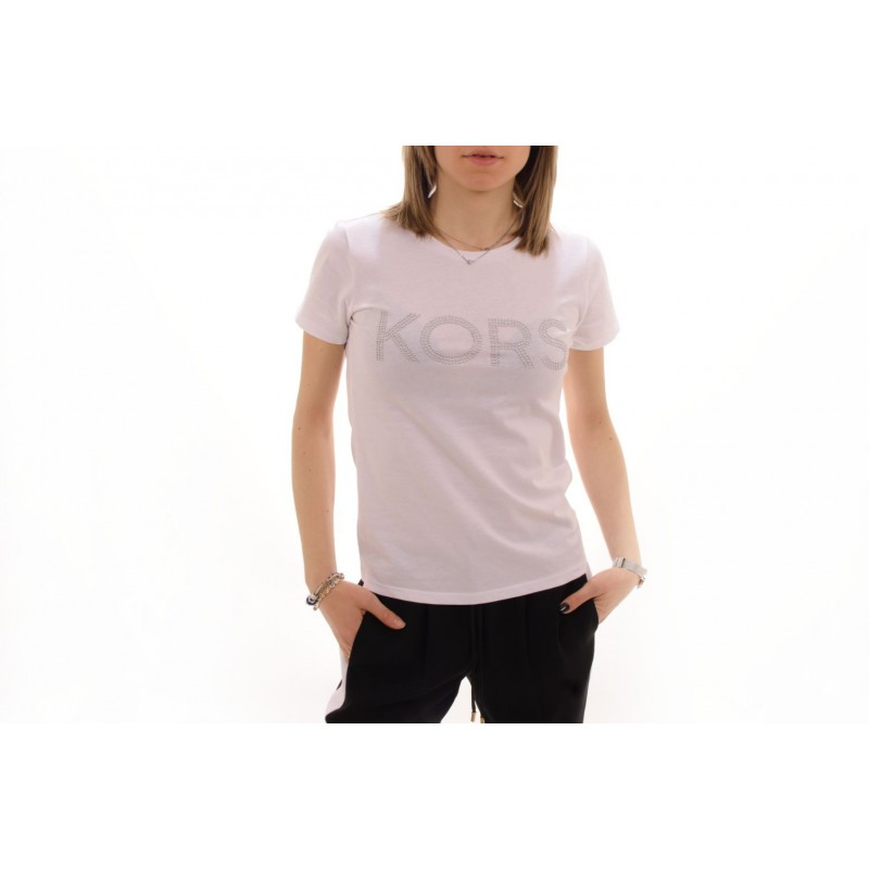 MICHAEL BY MICHAEL KORS - T-Shirt in cotone con strass - Bianco