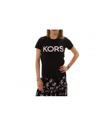 MICHAEL BY MICHAEL KORS -  Cotton T-Shirt with strass - Black/Silver