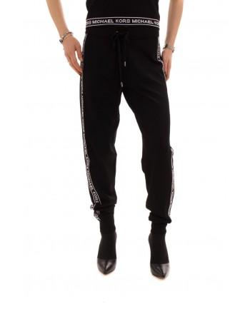 MICHAEL BY MICHAEL KORS - Pantalone Jogger con stampa logo a contrasto - Nero/Bianco