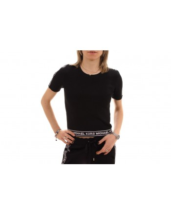 MICHAEL BY MICHAEL KORS - T-Shirt in Viscosa con stampa logo - Nero/Bianco