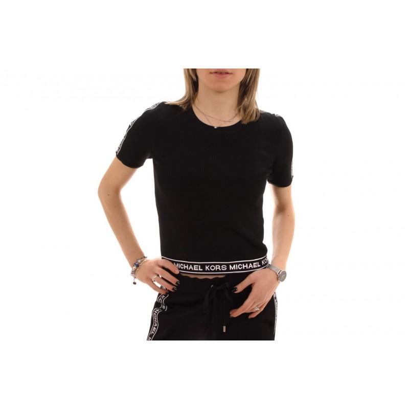 MICHAEL BY MICHAEL KORS - T-Shirt in Viscosa con stampa logo - Nero/Bianco