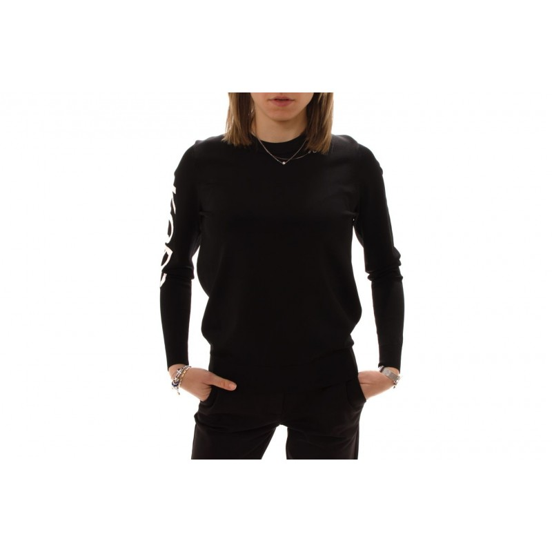 MICHAEL BY MICHAEL KORS - Viscose Knit with Logo on Sleeve - Black