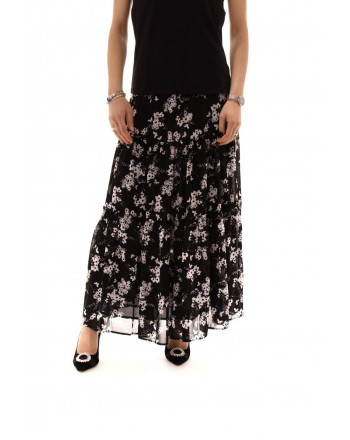 MICHAEL BY MICHAEL KORS -  Georgette skirt with flowers - Black/White