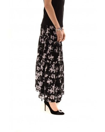 MICHAEL BY MICHAEL KORS - Gonna in georgette con Fiori - Nero/Bianco