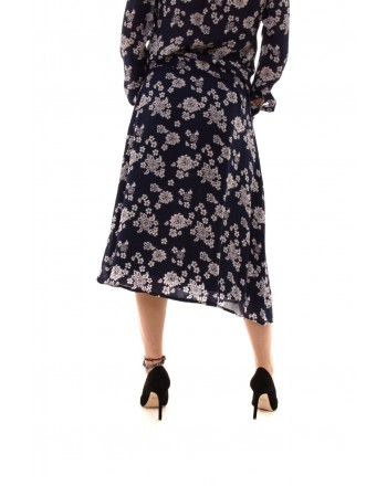 MICHAEL BY MICHAEL KORS -  Silk Skirt with Two Lenghts  - True Navy/White