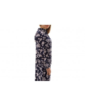 MICHAEL BY MICHAEL KORS -  Silk Flower Printed Shirt  - True Navy/White