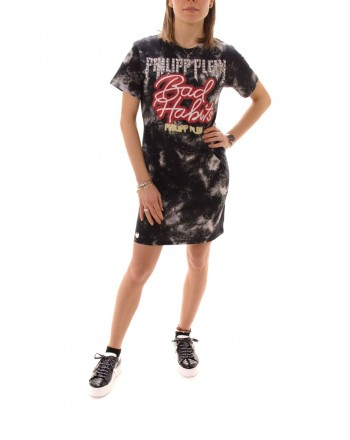 PHILIPP PLEIN - Abito In Cotone con Stampa BAD HABITS - Nero