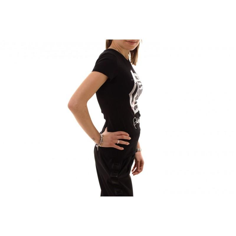 PHILIPP PLEIN - T-Shirt in Cotone a Stampa con Strass - Nero