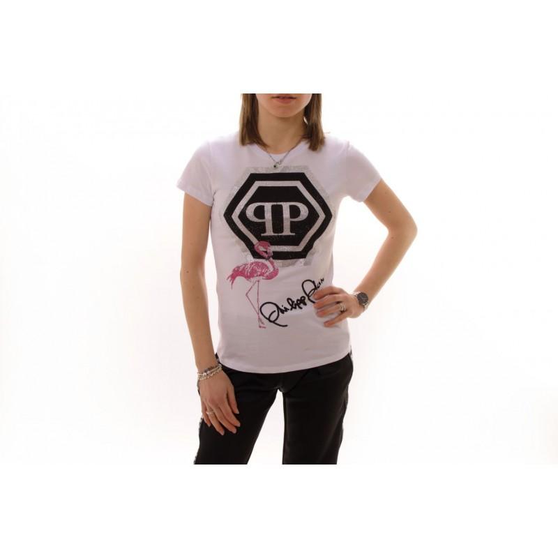 PHILIPP PLEIN - Cotton T-Shirt with Flamingo and Rhinestones - White