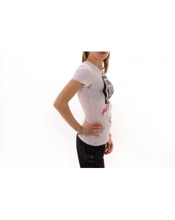 PHILIPP PLEIN - T-Shirt in Cotone con Stampa Fenicottero e Strass - Bianco