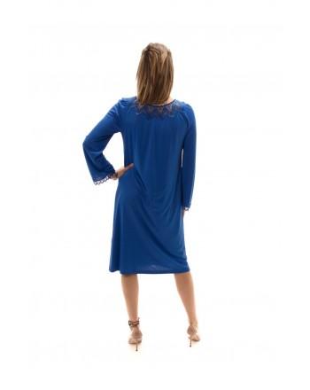 BLUMARINE - Viscose Dress with Lace Details - Bluette