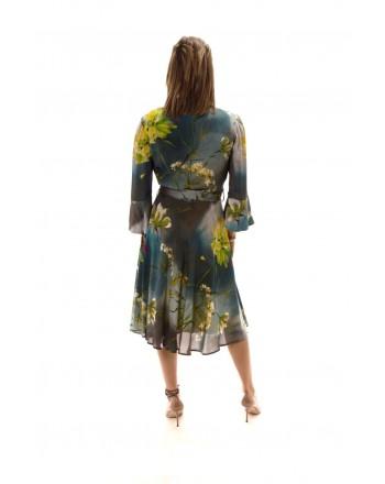 BLUMARINE - Viscose Dress  Dusty Dream Patterned - Grey